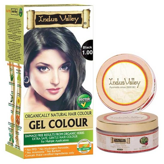 Indus Valley Permanent Herbal Gel Hair Colour Black 1.00 (190 G) And Get Light Day Cream (50 Ml)Free