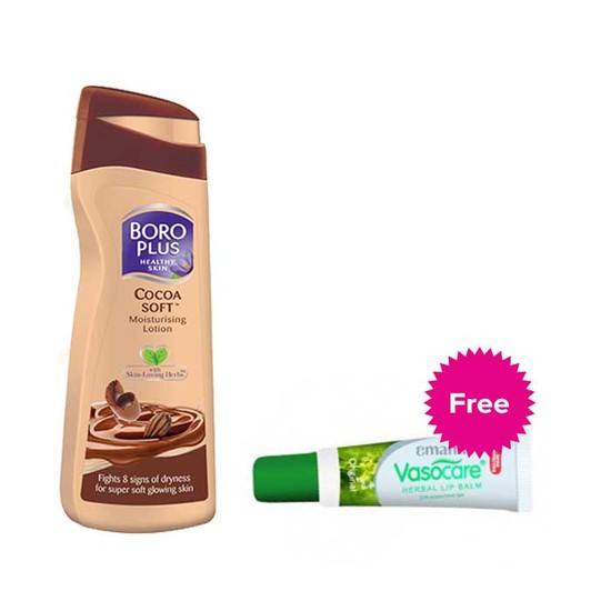 Boroplus Cocoa Soft Moisturising Lotion (100 Ml) + Emami Vasocare Herbal Lip Balm (10 G)